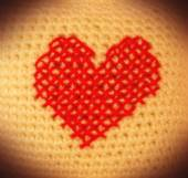 Valentine, knitting heart, embroidery — 图库照片