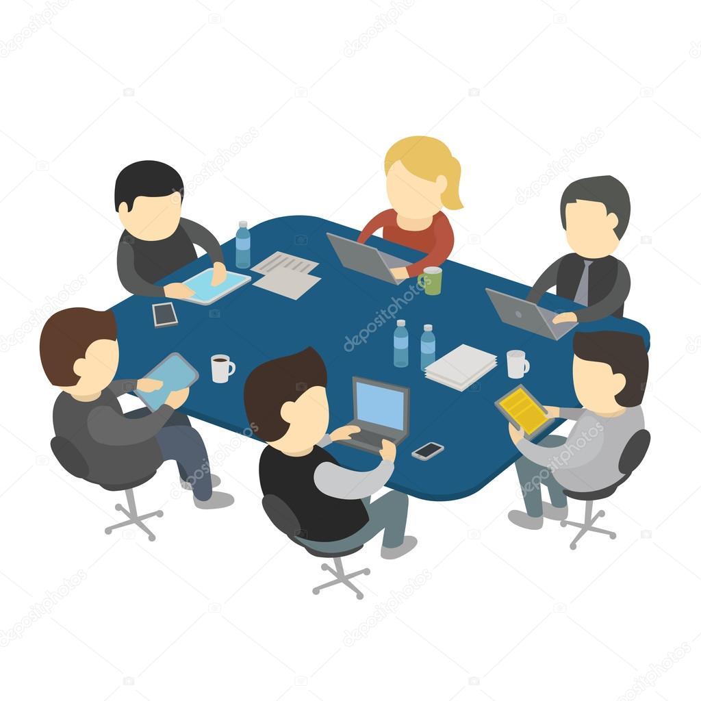 Trabajo De Seis Personas Sentadas En La Mesa Archivo