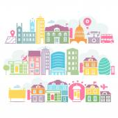 City London colorful silhouettes of buildings — Stock Vector