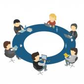 Six cartoon people work sitting round table — Stock Vector