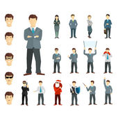 Many working people in various poses. Vector. — Stock Vector