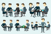 People working at the desk. — Stock Vector