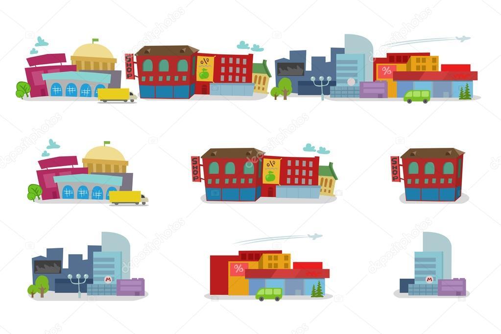 Arquitectura De Dibujos Animados De La Ciudad De Casas