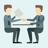 Two businessmen shaking hands and negotiate — Stock Vector