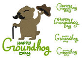 Lettering for Groundhog Day groundhog with a mustache — Stock Vector