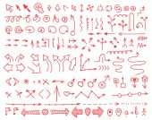 Set of arrows drawn by hand — Stock Vector