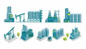 Set of isometric end 2D factory illustration oil production — Stock Vector