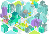 Set of the isometric city buildings, shops, park, business center, elements — Stock Vector