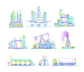 Production, storage of oil transportation drawings by hand — Stock Vector