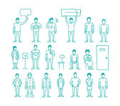People vector set drawing hand standing and waiting in line. — Stock Vector