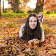 Woman portret in autumn leaf — Stock Photo #59223217