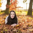 Woman portret in autumn leaf — Stock Photo #59223221