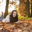 Woman portret in autumn leaf — Stock Photo #59223245