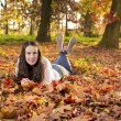 Woman portret in autumn leaf — Stock Photo #59223253