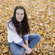 Woman portret in autumn leaf — Stock Photo #59223293
