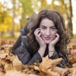 Woman portret in autumn leaf — Stock Photo #59223299