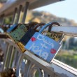 Names on the padlocks as a proof of love — Stock Photo #59150833