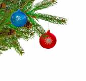 Christmas tree and balls on a white background — Stock Photo