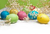 Easter eggs with a field for text — Stok fotoğraf