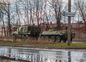 Donetsk, Ukraine - April, 04, 2015: Military equipment separatists at the entrance to Donetsk — Stockfoto