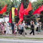 Постер, плакат: Makeevka Ukraine May 9 2012: Proponents of communist ideolo