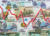 Rubles and descending graph — Stock Photo