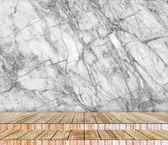 Backdrop  marble wall and wood slabs arranged in perspective texture background for design. — Stock Photo