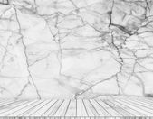 Backdrop  marble wall and wood slabs arranged in perspective texture background. — Стоковое фото