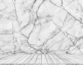 Backdrop  marble wall and wood slabs arranged in perspective texture background. — Stock Photo