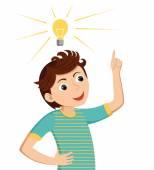 Boy gets idea. — Stock Vector