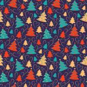 Seamless pattern with christmas trees. — Stock Vector