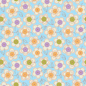 Seamless pattern with buttons and flowers. — Stock Vector