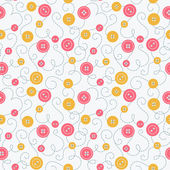 Seamless pattern with buttons and embroidery. — Vector de stock
