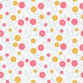 Seamless pattern with buttons and embroidery. — Stok Vektör