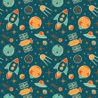 Постер, плакат: Seamless pattern with space rockets satellites planets and stars