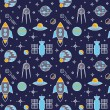Seamless space pattern with cartoon spaceship icons. — Vector de stock  #59653531