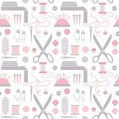 Seamless pattern with sewing accessories. — Stock Vector