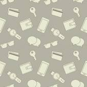 Seamless pattern with sunglasses, key, phone, wallet, credit cards and watches. — Stockvector