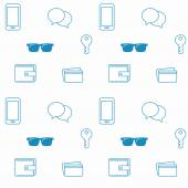Seamless pattern with everyday objects: sunglasses, key, phone and wallet. — Stock Vector