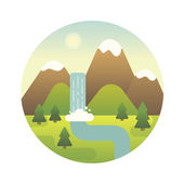 Landscape illustration. Flat design icon. — Stock Vector