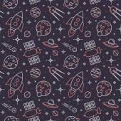 Seamless pattern with space, rockets, planets and stars. — 图库矢量图片