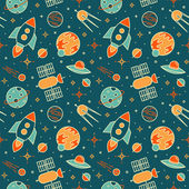Seamless pattern with space, rockets, satellites, planets and stars. — Vector de stock