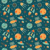 Seamless pattern with space, rockets, satellites, planets and stars. — Stock Vector