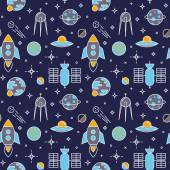 Seamless space pattern with cartoon spaceship icons. — Vector de stock