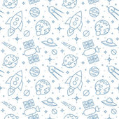 Seamless space pattern. Childish background. — Stock Vector