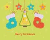 Christmas card with colorful needlecraft decorations. — Wektor stockowy