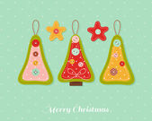 Christmas card with needlecraft decorations. — Stock Vector