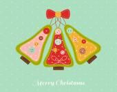 Christmas card with needlecraft Christmas trees. — Stock Vector