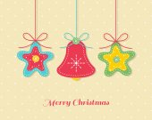 Christmas card with needlecraft stars and bell. — Stock Vector