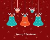 Christmas card with needlecraft bells. — Stock Vector